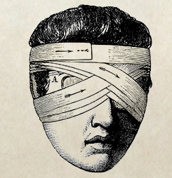 animowany człowiek z bandażem na oczach