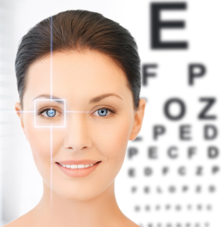 Lady taking eye test for contact lenses