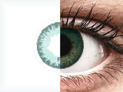 Carribean Aqua contact lenses - FreshLook Dimensions - Power (6 monthly coloured lenses)
