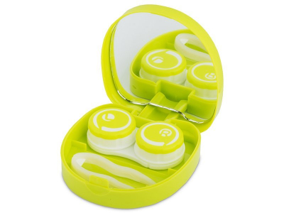 Lens Case with mirror Smile - green