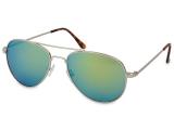 Sunglasses Silver Aviator - Blue/Green