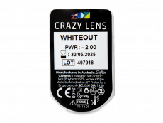CRAZY LENS - WhiteOut - power (2 daily coloured lenses)