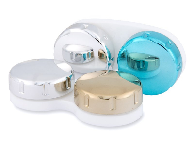 Contact lens case with mirrored finish – blue/silver