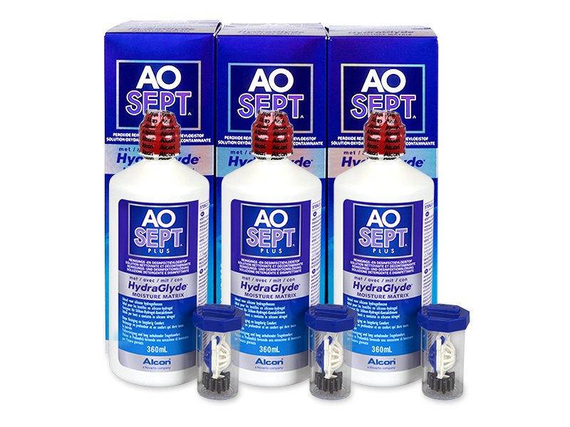 AO SEPT PLUS HydraGlyde Solution 3 x 360ml